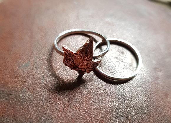 Copper Leaf, Silver Eco Ring