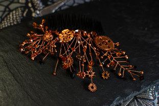 CRZyBest Steampunk haircomb with Swarovski Garnets