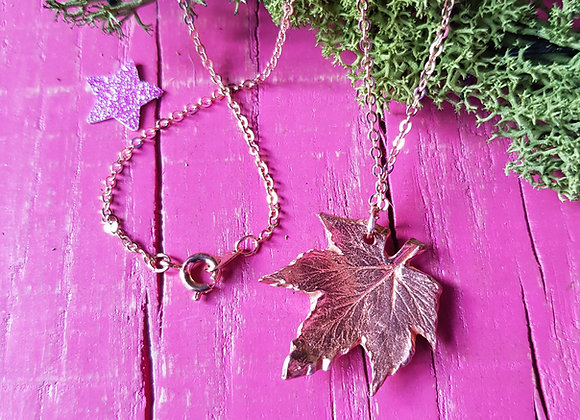 Copper Hop Leaf Necklace
