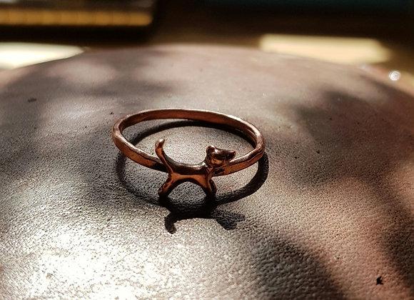 Tiny Copper Dog Ring