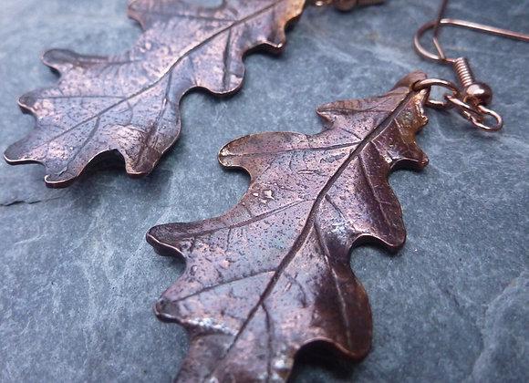 Patinated & Polished Copper Oak Leaves
