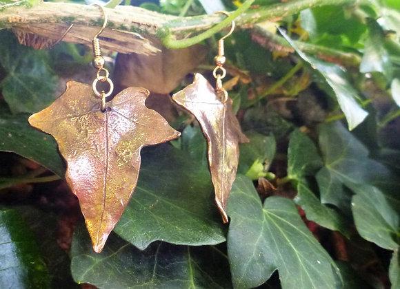 Copper Ivy Leaf Earrings