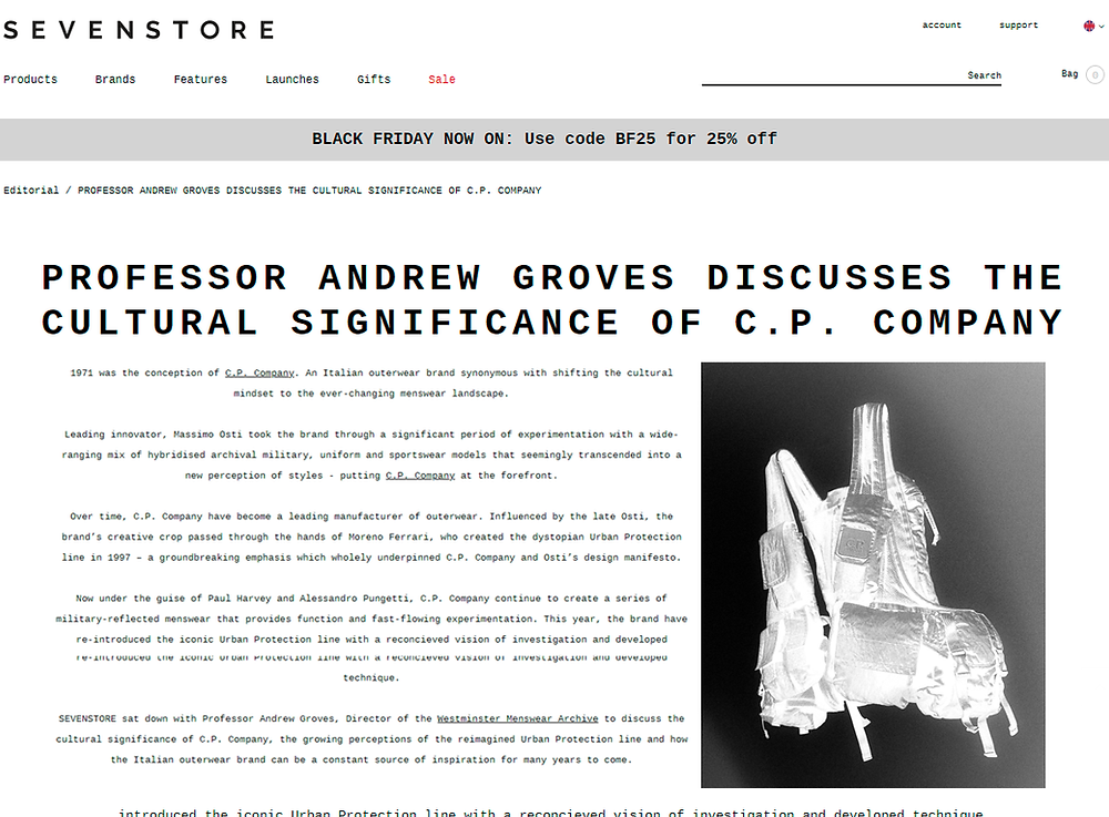 Article in Sevenstore about the cultural significance of C.P. Company