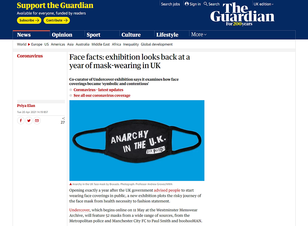 Article in The Guardian on the forthcoming Undercover exhibition
