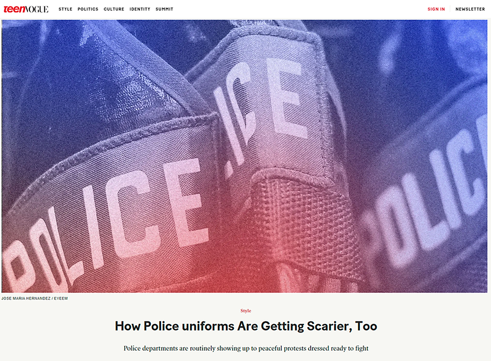Article in Teen Vogue about police uniforms