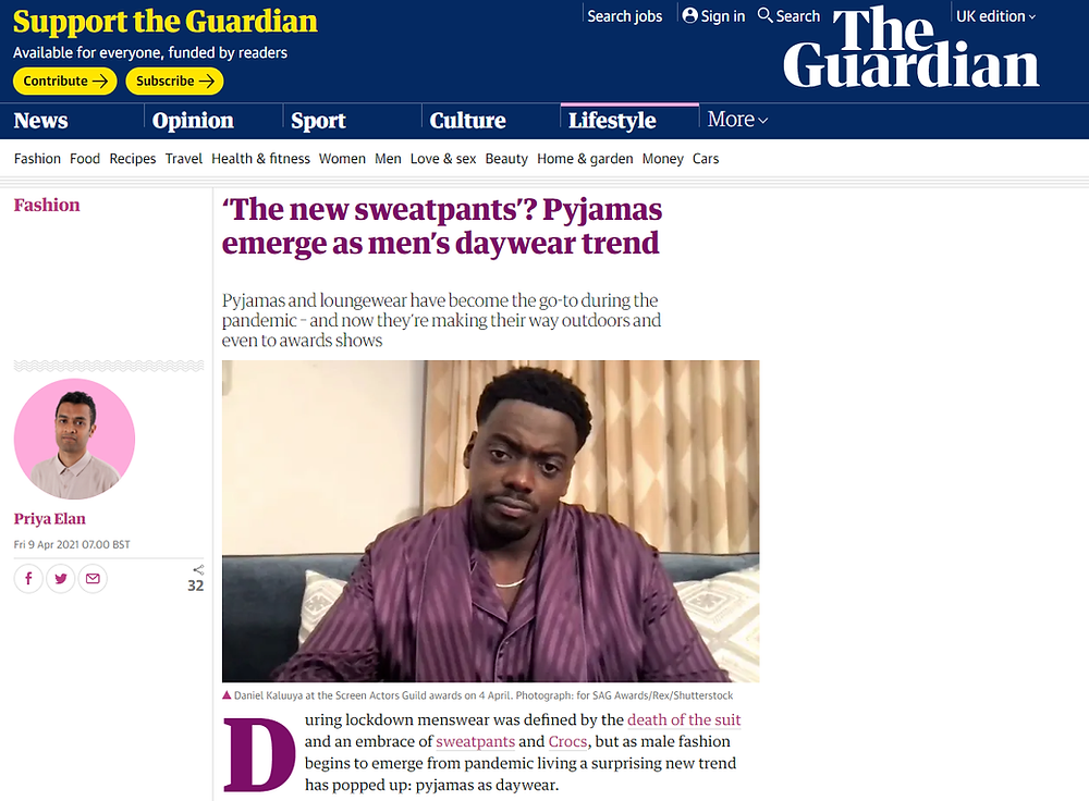 Article in The Guardian on loungewear
