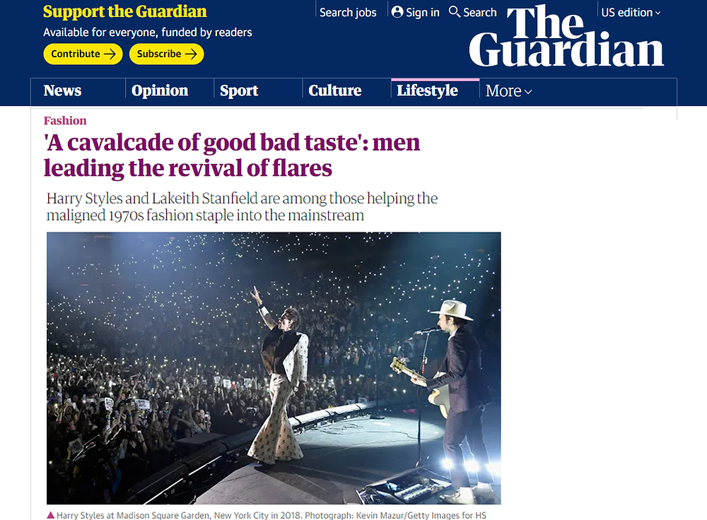 Article in The Guardian on the return of men's flares
