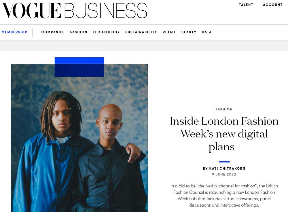 Article in Women's Wear Daily on digital fashion weeks