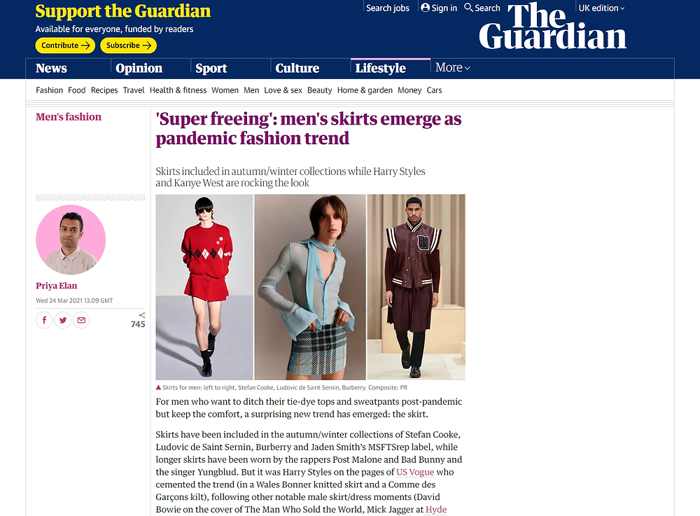 Article in The Guardian on men's skirts