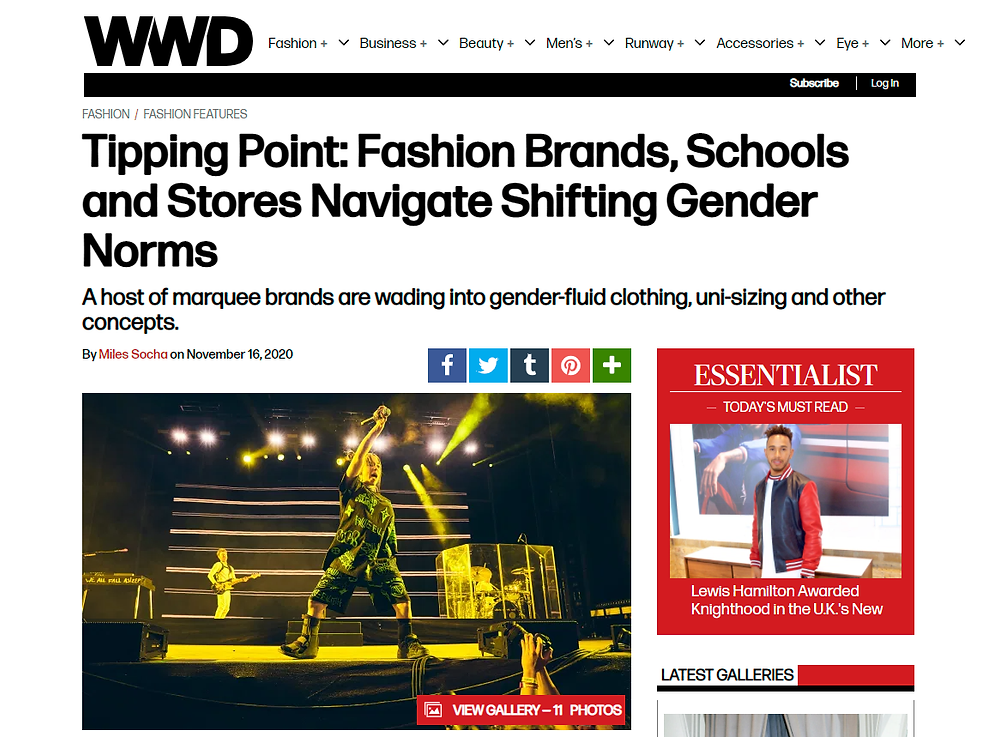 Article in Women's Wear Daily about changing approaches to gender in design