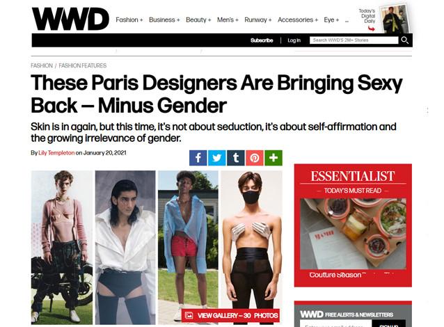 Article in Women's Wear Daily on menswear designer's showing skin