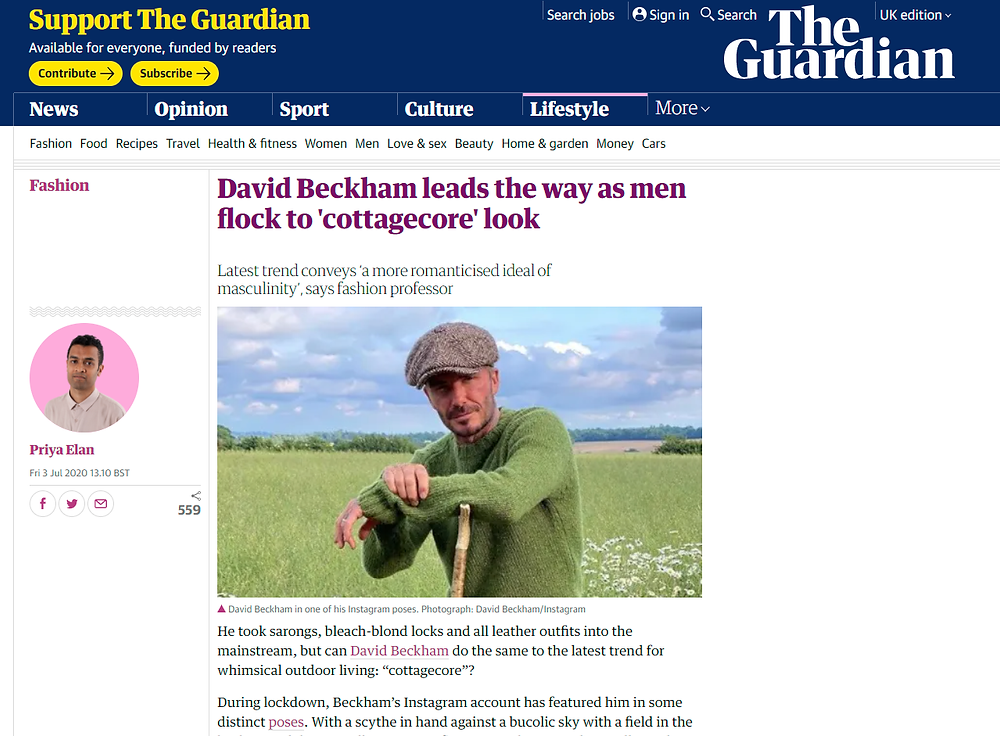 Article in The Guardian on David Beckham and cottagecore