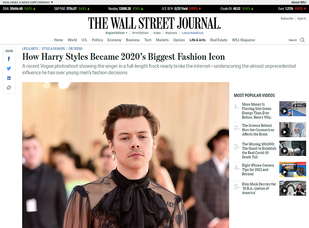 Article in The Wall Street Journal on Harry Styles wearing a dress