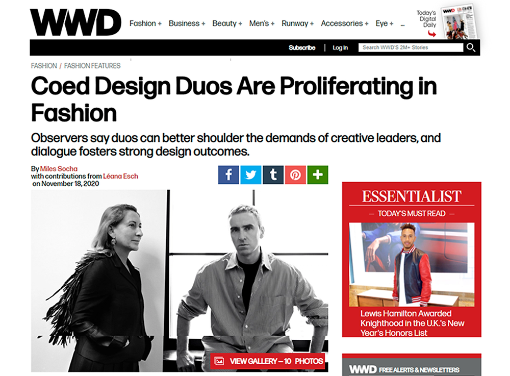 Article in Women's Wear Daily about designer duos