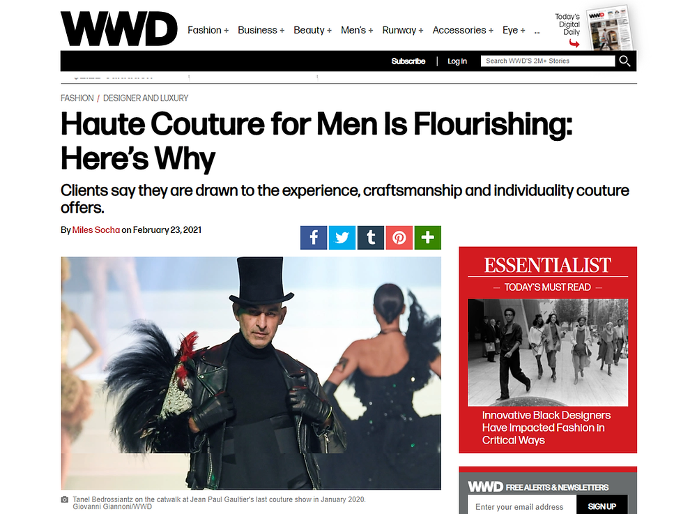 Article in Women's Wear Daily on men's couture