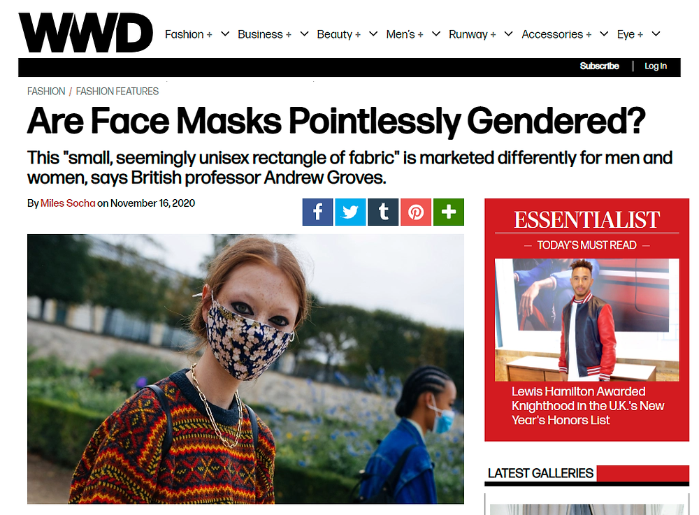 Article in Women's Wear Daily about the gendering of face masks