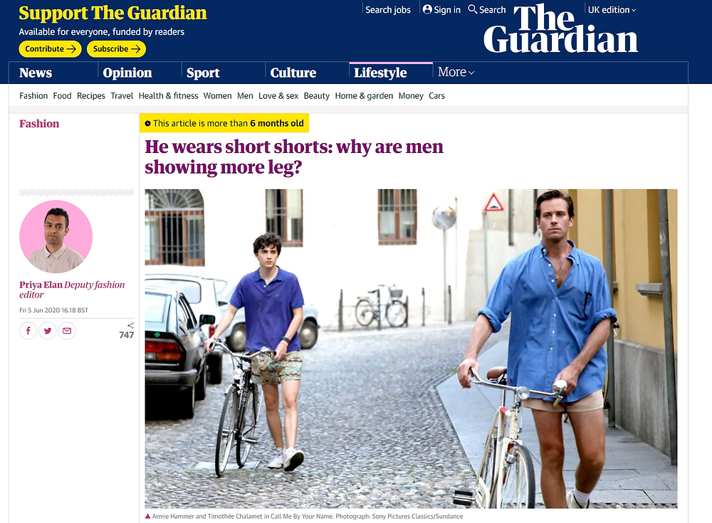Article in The Guardian on men's shorts