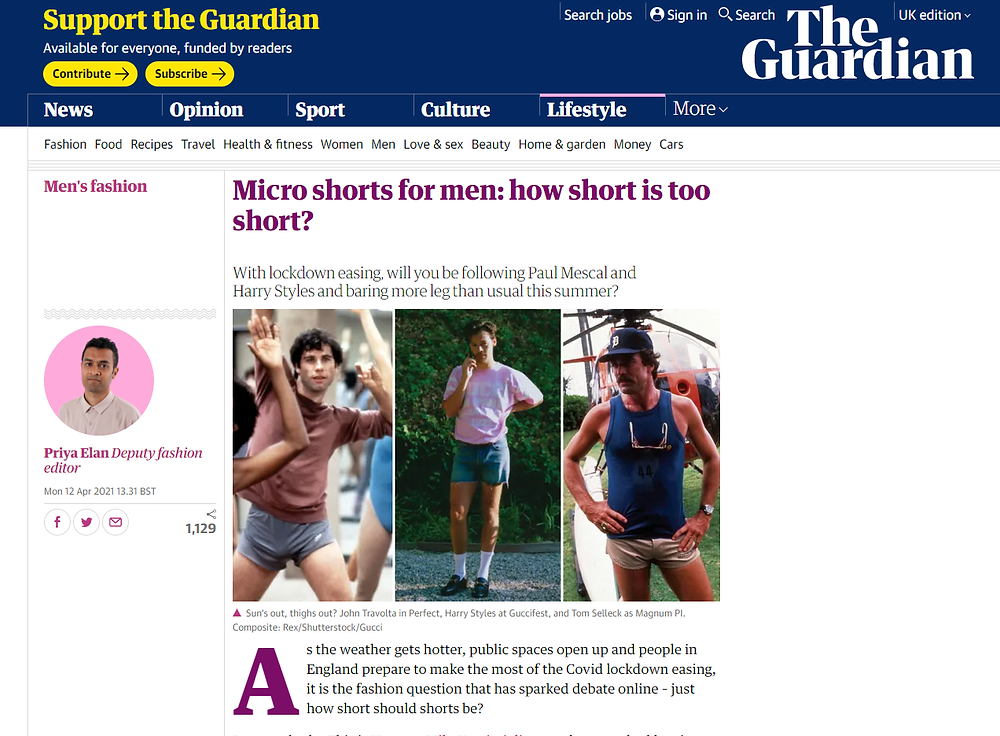 Article in The Guardian about men's shorts