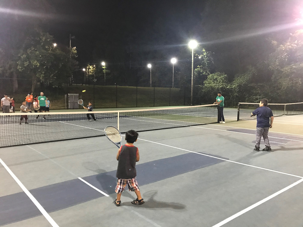 BCF Playing Tennis at Rock Quarry Park (early October 2019)