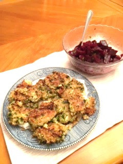 Zucchini Fritters and Fresh Beet Salad