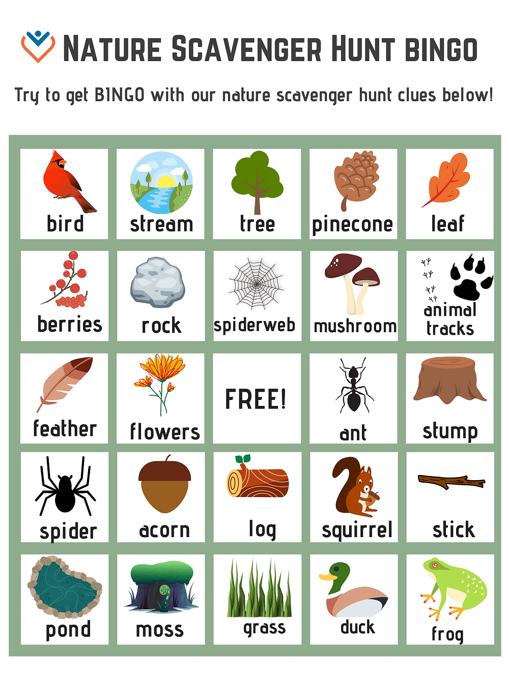 Bingo board with nature pictures as the spaces