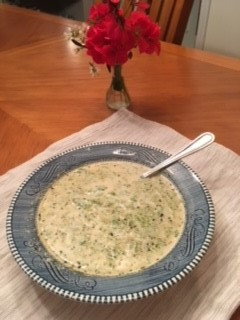 Cream of Broccoli Soup Prepared by Jenny Favret