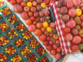 Tomato display at the farmers market