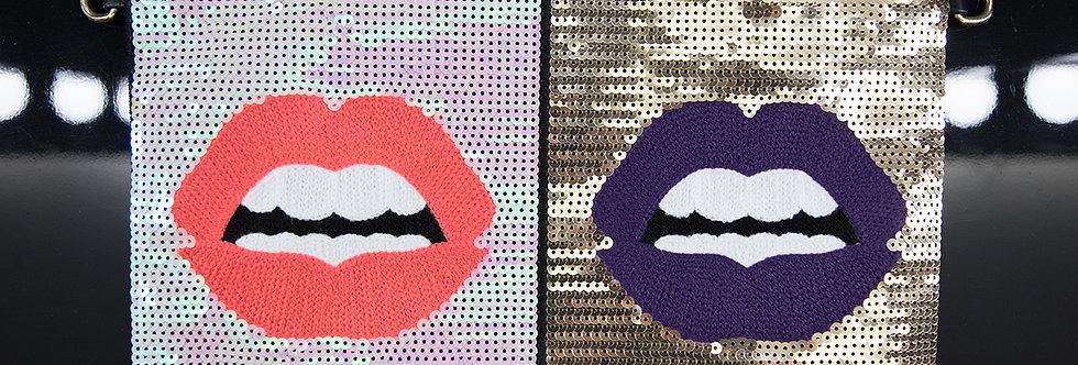 Sequin Lip Clutch