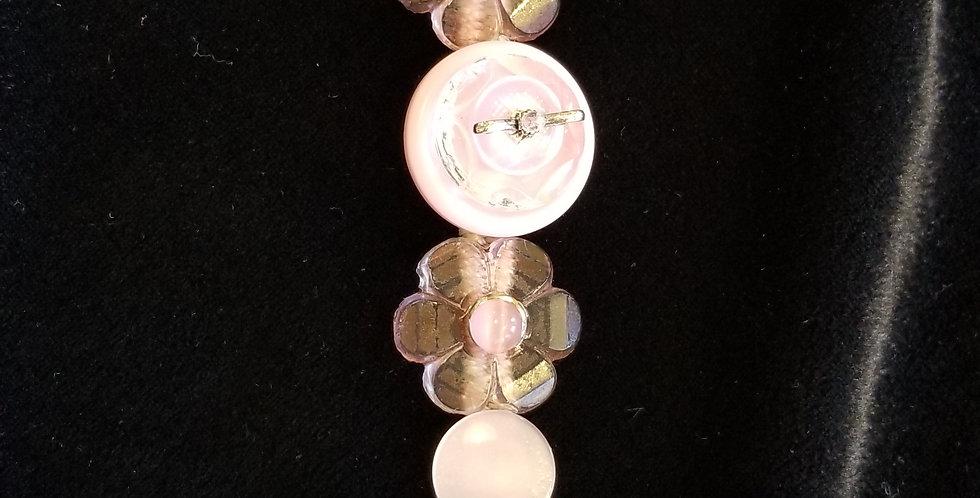 Delicate Pink Button Bracelet