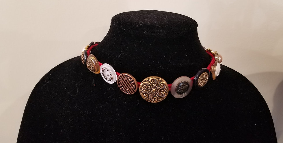 Red, Black, Gold, Vintage Button Necklace