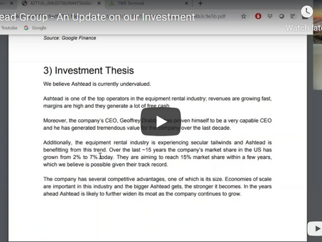 Ashtead Group - An Update on our Investment