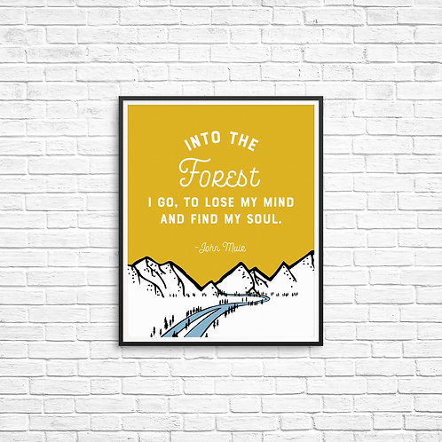 Into the Forest I Go Print (Golden Yellow)