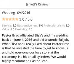 pastor Brad officiated Elisa's