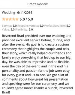 Rev. Brad presided over our wedding