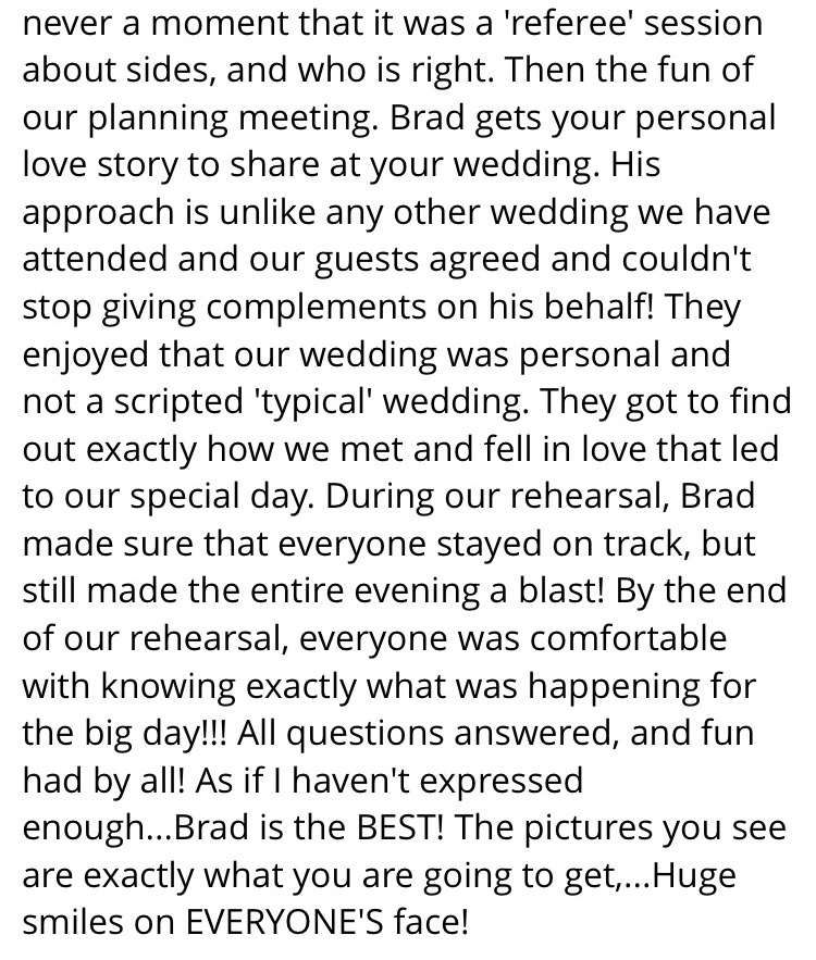 Positive review for Love Story Weddings