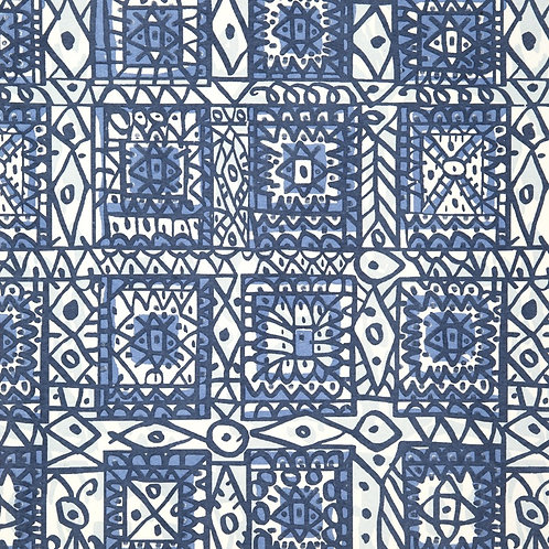 mosaic wallpaper in cobalt by Javier Mariscal