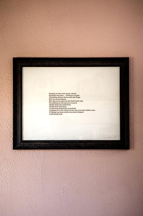 framed 1960's poetry