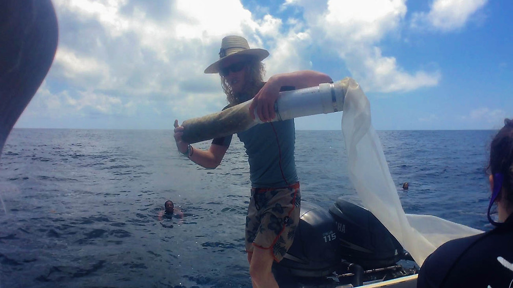 One of our volunteers, Rupert, pulling the Manta Trawl out of the water after sample collection