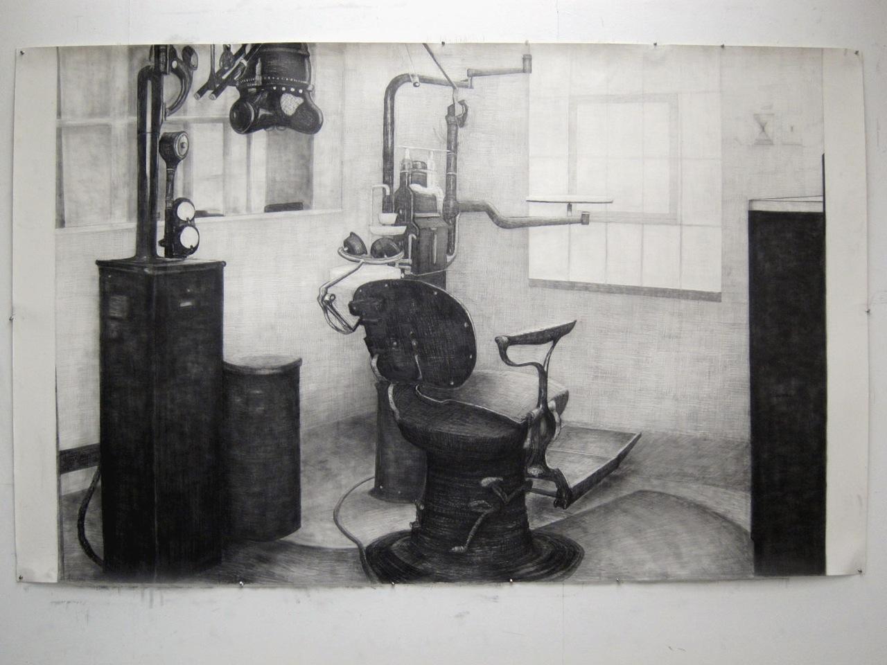 White room black chair