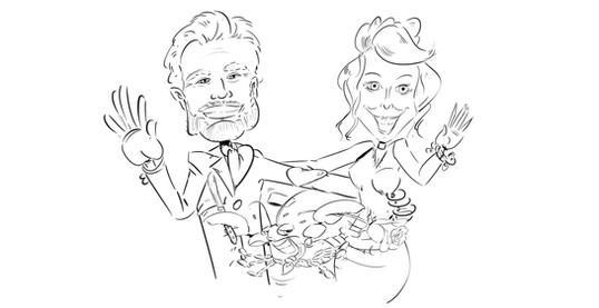 Karikatuur Silvie en Pedro tekening
