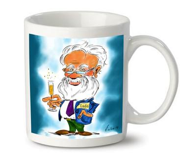 Karikatuur op koffiemok