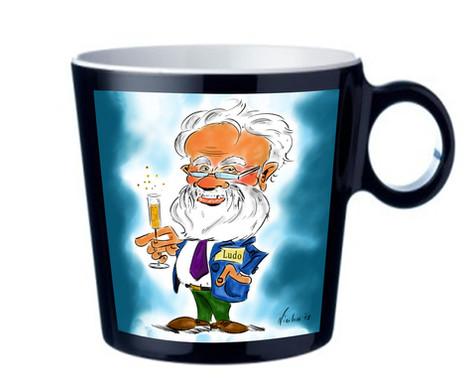 Karikatuur op koffietas