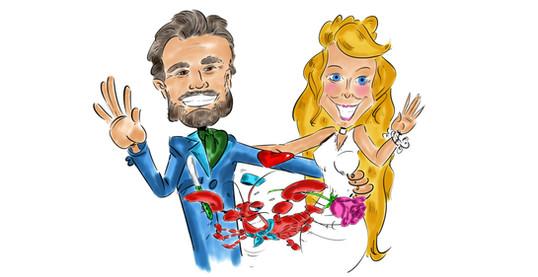 Karikatuur Silvie en Pedro kleur