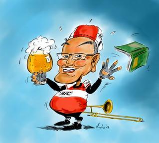 Karikatuur voor pensioen Piet