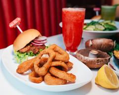 Burger with Cajun Onion rings