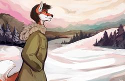 furry samoyed winter scene Fa size