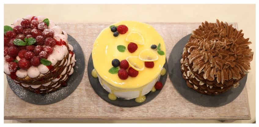 Raspberry cake, lemon cake, tiramissu cake