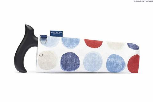Blue Badge Walking Stick Bag - Helix Spots Blue/Red