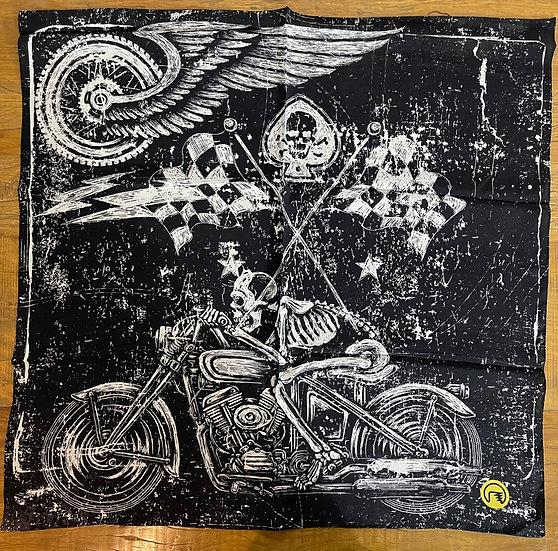 Lenço de seda Dimi Custom® Skull Rider Black e White