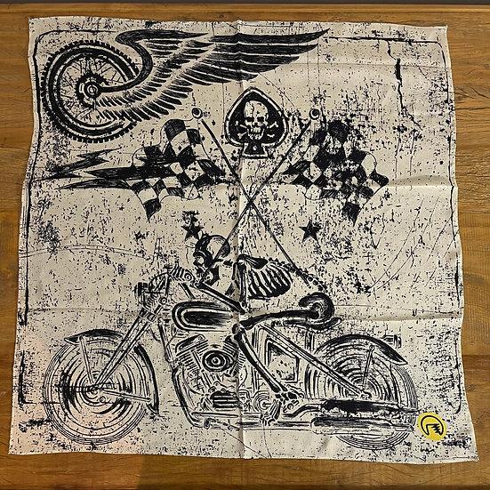 Lenço de seda Dimi Custom® Skull Rider Off White